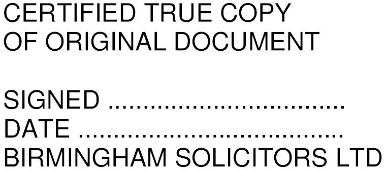 Certified True Copy Of Original Document Self Inking