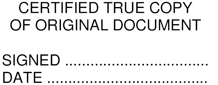 Certified True Copy Of Original Document Self Inking